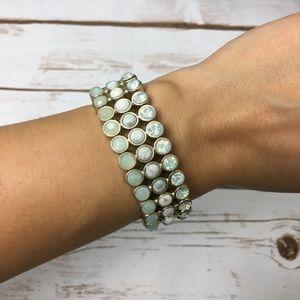 NWT LOFT Gold & Pale Blue Jeweled Bracelet
